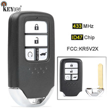 Keyecu 433.92Mhz ID47 Chip Fcc: KR5V2X A2C83162500 Vervanging 4 Knop Slimme Afstandsbediening Autosleutelzakje Voor Honda Pilot