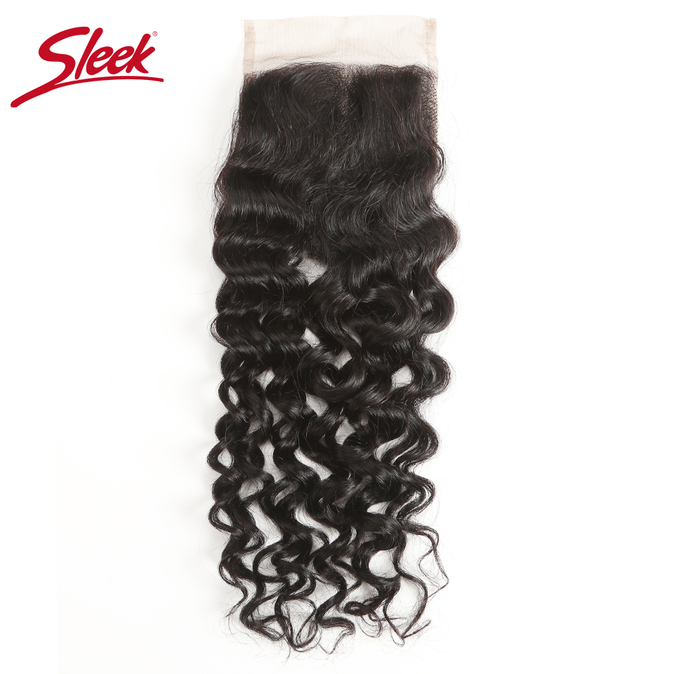 Sleek Brazilian Water Wave Lace Closure 10-20 Inch Remy Hair 4x4 Medium Brown With Bleached Knots Three/Medium Part Lace Closure