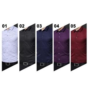 Image 2 - BROWON camisas de vestir de marca de lujo para hombre, camisa manga larga para hombre con estampado geométrico, camisa Social, blusa a la moda para hombre