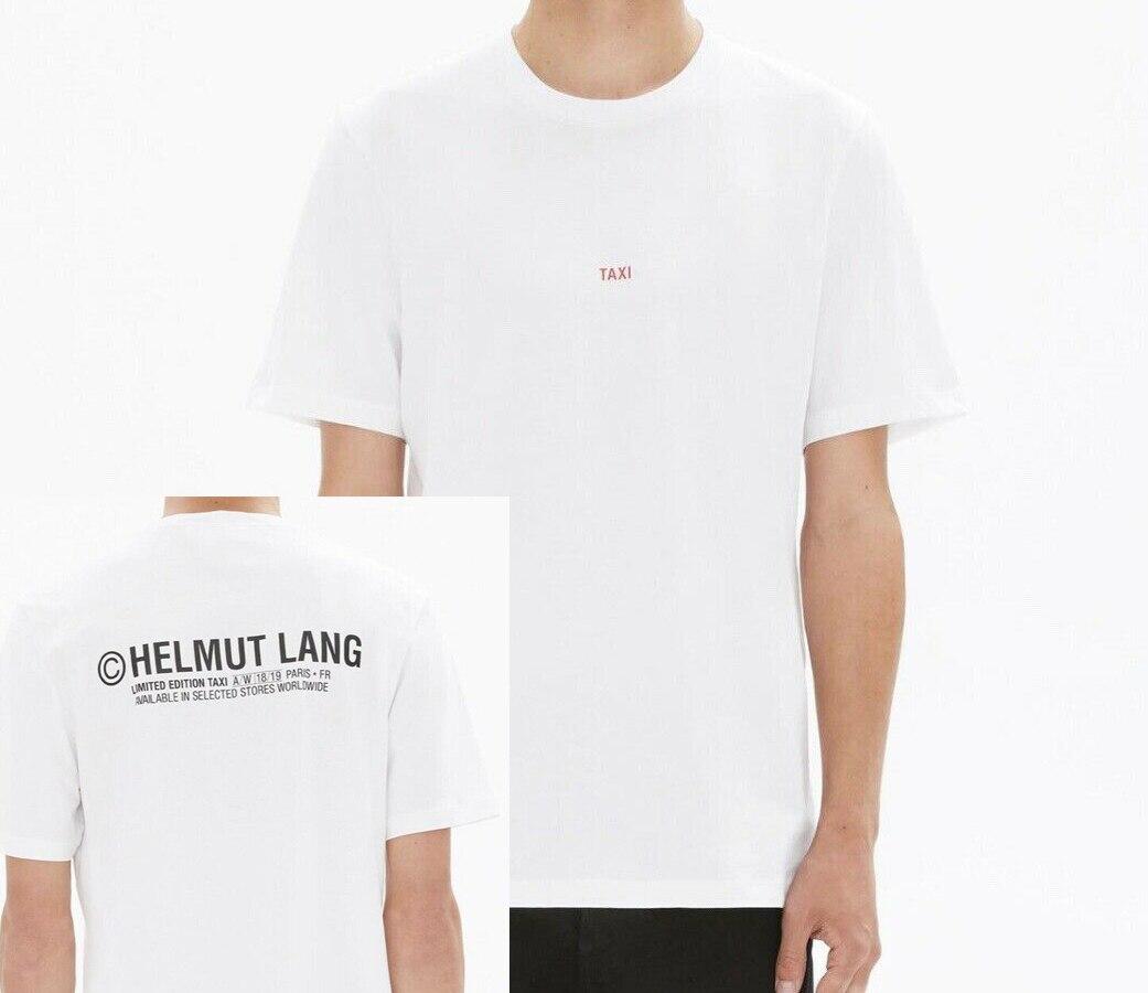 New Streetwear Helmut Tee Lang Mens White Logo Paris Taxi Tee Crew-Neck Short-Sleeve T-Shirt Unisex Size S-3Xl