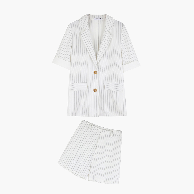 Drop Shipping 2Pieces Set Striped Female Short Suits Single-breasted Jacket Blazer & Elastic-waisted Shorts Women Pant Suits