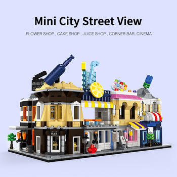 6set City Mini Street Private cinema Cakes Juice shop Corner bar Flower shop Retail Store Building Block Brick Toy For Children