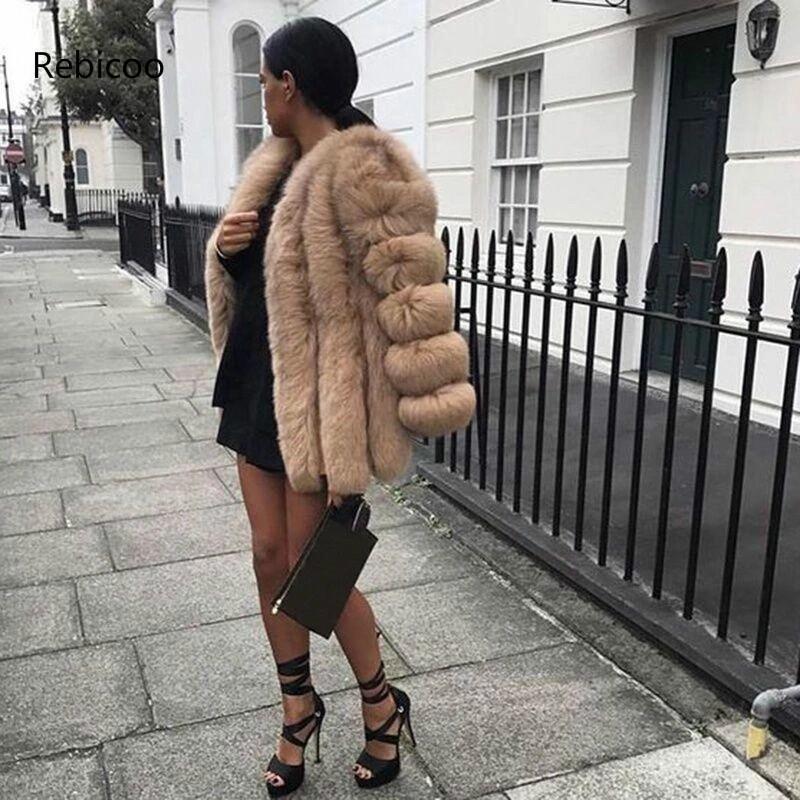 Winter Coat Women Plus Size Faux Fur Coats Furry Long Female White Fluffy Faux Fur Coat Jacket Cozy Fluffy Jackets Coats