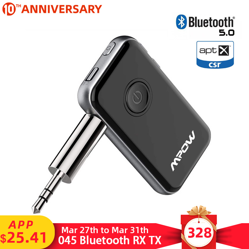 Mpow BH045 2nd Bluetooth 5.0 Receiver Transmitter 2 in 1 Support APTX/APTX LL 12hrs Playing Time Wireless Audio Stereo Adapter|Wireless Adapter| |  - title=