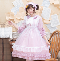 Victoria Japanese Girls Pink Lolita Dress + White Apron OP Lolita Dress Cosplay Maid Costume Dress Loli Lol Suits with Headband