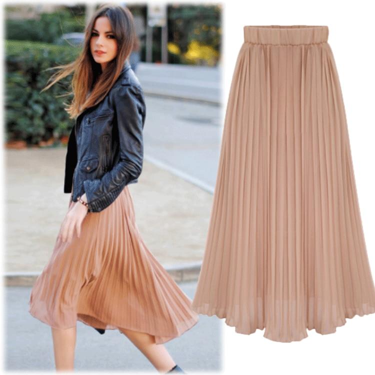 Skirt Women's 2019 New Style Skirt Women's Summer Summer Chiffon Skirt A- Line Skirt Pleated Skirt