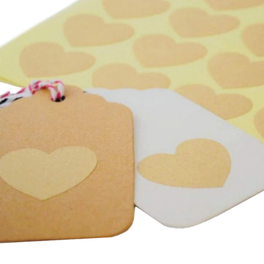 120pcs/10 sheet Heart Shape Kraft Paper Adhesive Label  Sticker Seal Labels, Candy Biscuits Dessert Bags Envelope Packaging-2