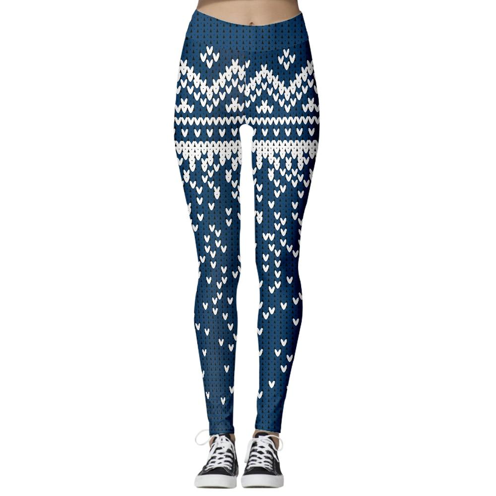 Navy New Heart Print Pacman Women Leggings Skinny Long Leggins Women Pant Casual Street Leggins Halloween Day Legging