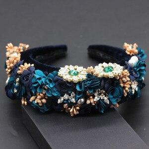 Image 4 - Ladies Fashionable Hair Band Baroque fashion temperament sponge rhinestone fabric flower wild headband 686