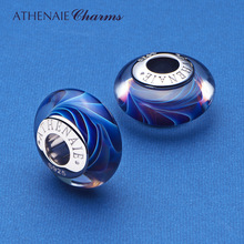 ATHENAIE Christmas Sale 925 Sterling Silver Blue Ocean Wave Murano Glass Charms Beads for Bracelet Bangle Necklace