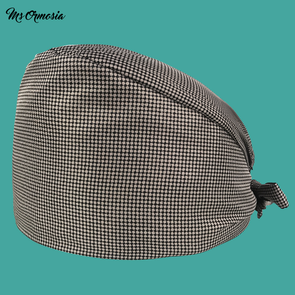 High Quality Gray Printed Men And Women 100% Cotton Pharmacy Nurse Cap Band Elasticated Operating Room Surgical Cap Medical Hat