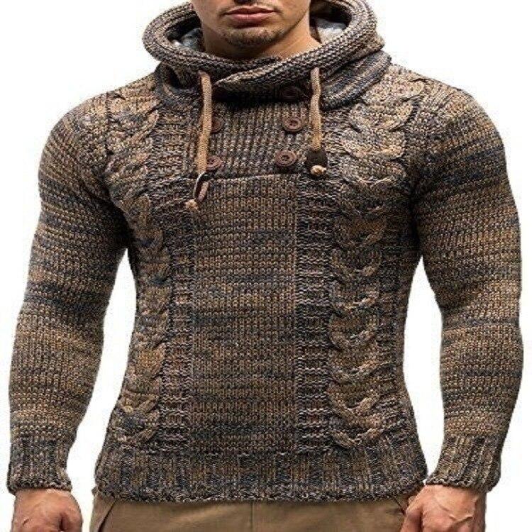New Fashion Brand Slim Men's Knit Lapel Long Sleeve Solid Color Regular Sweater Men Winter Spring Hooded Coat