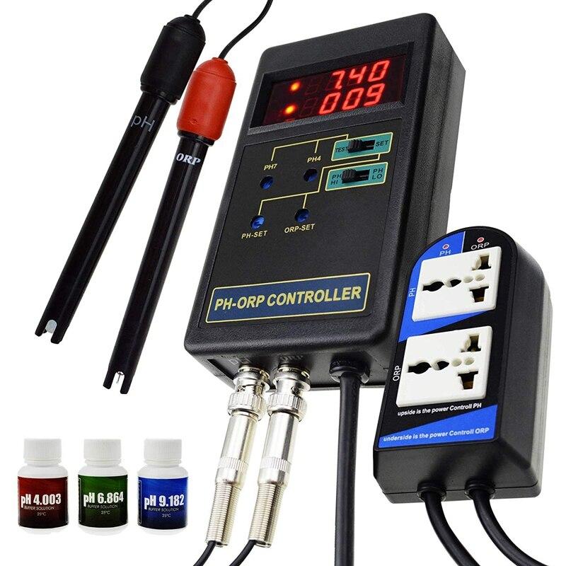 Contrôleur numérique 2 en 1 PH & ORP Redox avec relais séparés électrode repleacable sonde de Type BNC testeur de qualité de l'eau