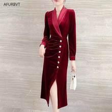 2020 Runway Dress Winter Evening Party Dresses Red Velvet Dress Women Long Sleeve Vintage Long Maxi Dresses Vestido Longo Robe
