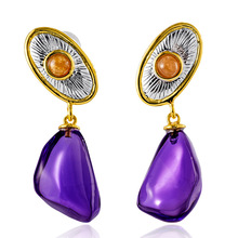 Natural Amethyst 925 Sterling Silver Rose Gold Plated Stud Earrings Women Original Design Handmade Gemstone Crystal Earring Gift