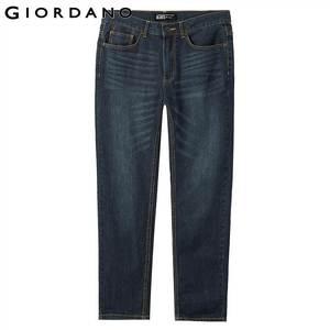 Image 2 - Giordano męskie dżinsy dżinsy elastyczne Mid Rise wąskie stopy jakości bawełniane dżinsy Pantalones Whiskering odzież dżinsowa
