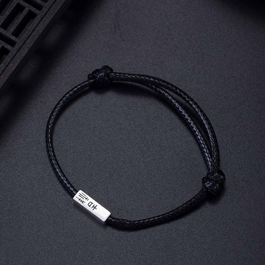 S925 Silver Black Red Auspicious Wish Bracelets Men Women Models Ancient Style Text Design Couple Hand Rope