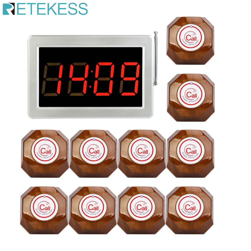 RETEKESS 무선 호출 시스템 999 채널 웨이터 호출 호출기 호텔 교회 클리닉 페이징 시스템 433MHZ 용 캐터링 장비