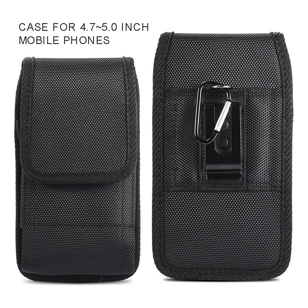 New For 4.7-5.0 Inch Mobile Phones Waist Bag With Detachable Hook Black Durable Oxford Cloth