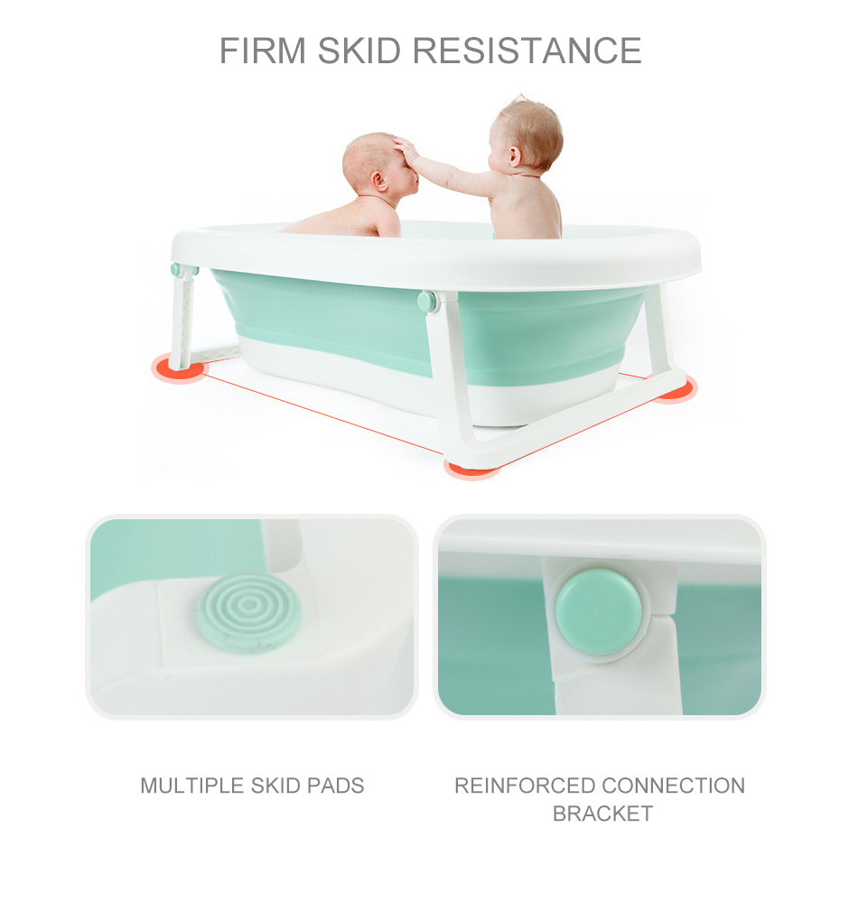 Easy Folding Baby Bath Tub With Non slip Cushion For Safe New Born Baby Bath Tub 17