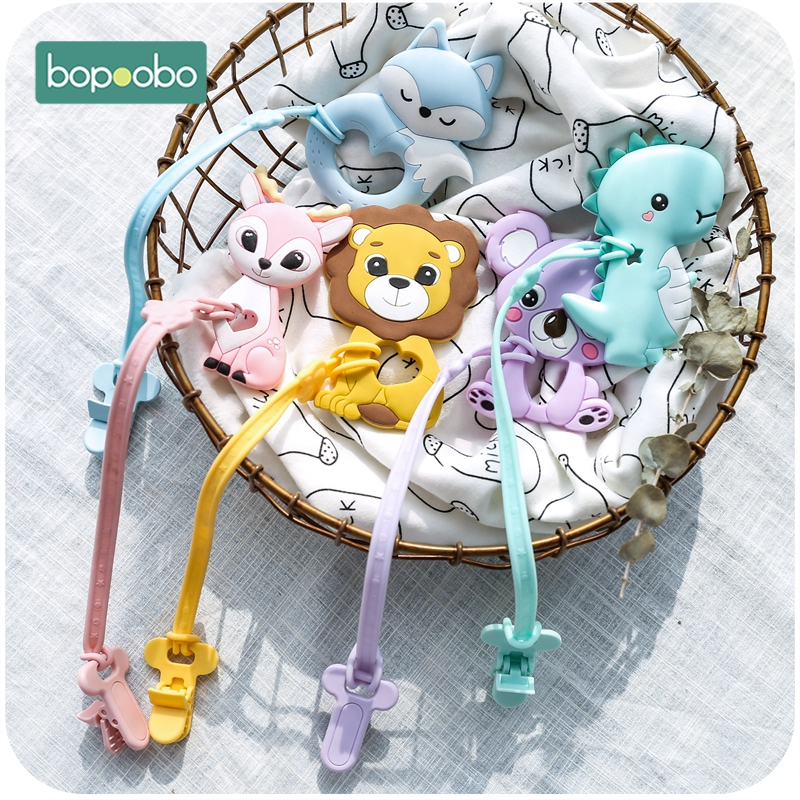 Bopoobo 1pc Baby Dummy Pacifier Chain Clip Cotton Silicone Teether Soother Nipples Holder Newborn Baby Toy Feeding Accessories