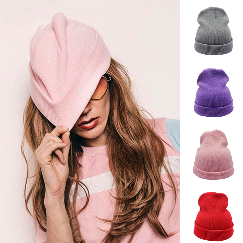 Soft Warm Knitted Cap Solid Unisex Beanie Fashion Women 28 Colors Beanies Autumn Winter Wool Blends Hip Hop Caps