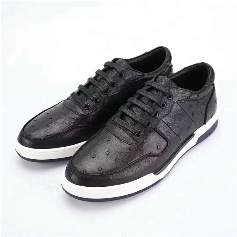 Authentic Real Ostrich Skin Men's Casual Black Walking Sneakers Genuine Exotic Leather Lace-up Male Driving Flats Footwear Shoes