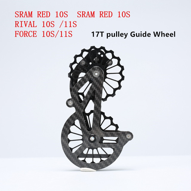 HOT 17T węgla Jockey koła pasowego łożyska ceramiczne koło pasowe zestaw tylne przerzutki przewodnik dla SRAM czerwony RIVAL FORCE 10S 11S