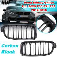 Pair Carbon Black M Color Car Front Kidney Grilles For BMW F30 F31 F35 320i 328i 325i 335i 2012-2018 Replacement Racing Grilles
