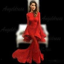 ลูกไม้สีแดง Mermaid ยาวเปลวไฟแขนชุดราตรีผู้หญิงชุดสำหรับปาร์ตี้ Vestidos de Noiva อย่างเป็นทางการ Maxi ชุด CHIC CUSTOM Made ชุด
