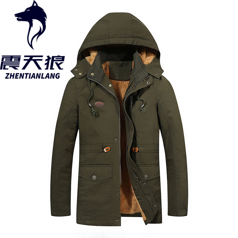 Cross Border For Amazon AliExpress MEN'S Coat Jacket Cotton Coat Mid-length Hooded Washing Jacket Shock Sirius
