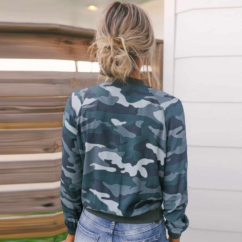 2019 Baru Kamuflase Musim Semi Wanita Plus Ukuran S-XL Pendek Wanita Mantel Zipper Chaqueta Lengan Panjang Wanita jaket Bomber # J30