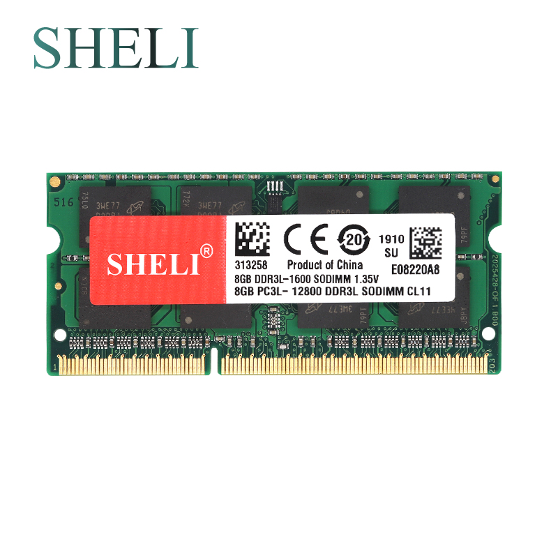 Sheli Novos Notebooks Memória gb 2rx8 Pc3l-12800s Ddr3l 1600 v 1.35 Mhz 204pin So-dimm Cl11 Laptop 8