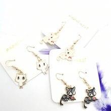 Модные женские серьги с белым котом и черным популярные милым