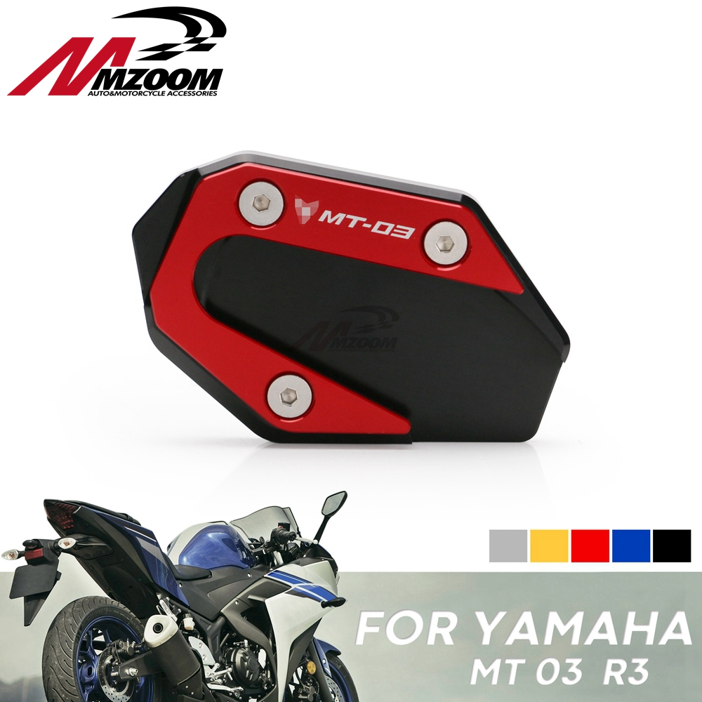 Motorcycle Accessories CNC Side Stand Plate Kickstand Extension Pad Enlarger For <font><b>YAMAHA</b></font> YZF R3 R25 <font><b>MT25</b></font> MT03 2015-2018 image