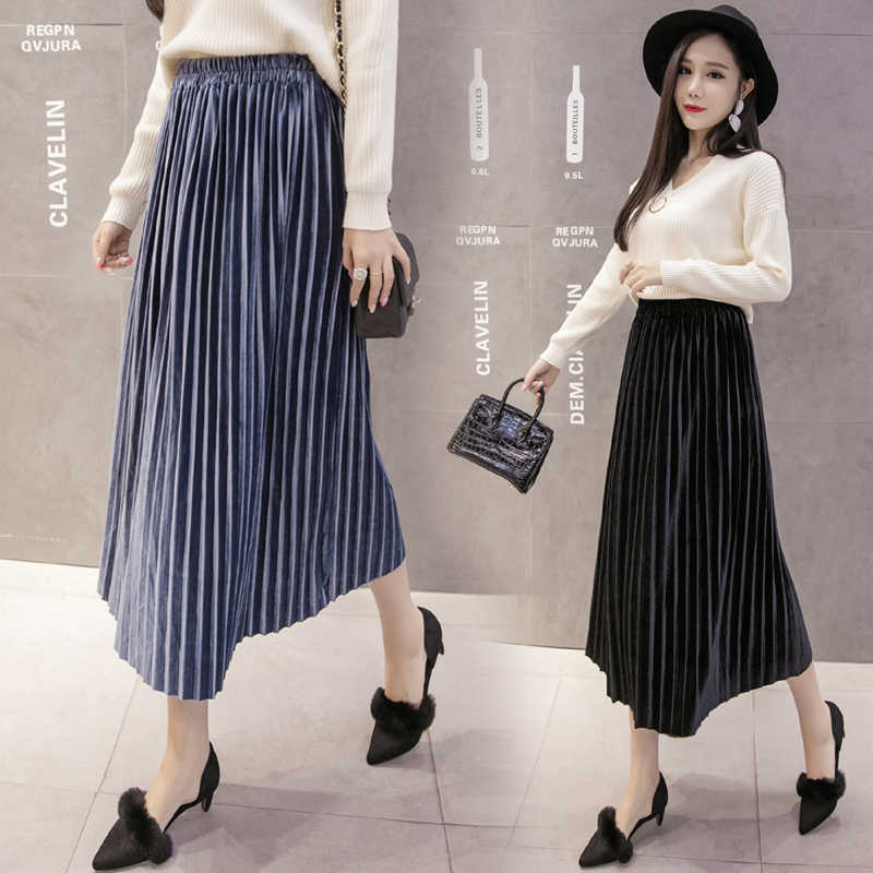 New 2019 Autumn And Winter High Waisted Skinny Female Velvet Skirt Pleated Skirts Pleated Skirt Large Swing Long Skirt