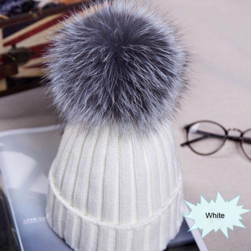 Hot Fashion New Winter Hats 12cm Fox Fur Pom Pom Women Winter Knit Beanie Bobble Hat Crochet Ski Cap