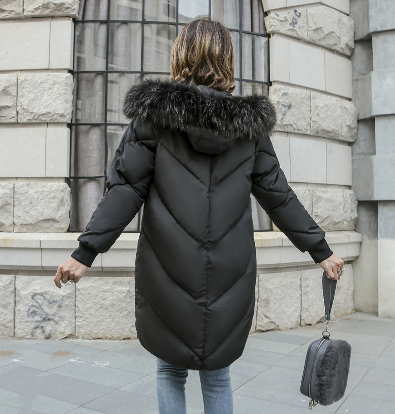 2019 High Quality Winter Jacket Women Hooded Fur Collar Warm Thicken F_A6_7