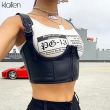 KLALIEN Black Basic Punk Crop Tops women PU Leather Tank Tops Summer Wild Casual Camisole Mujer Stretch Slim Vest Summer New