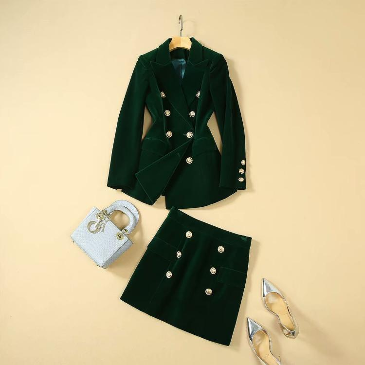 New 2019 Autumn Winter Green Velvet Blazer Suit Double Breasted High Street Runway Band Sexy Mini Skirts Two Piece Set