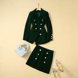Nuevo 2019 Otoño Invierno terciopelo verde blazer traje doble breasted high street runway band sexy mini faldas conjunto de dos piezas