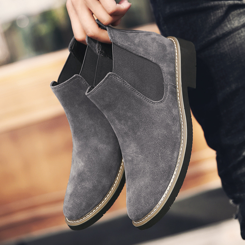 Genuine Leather Chelsea Boots Men Suede Luxury Ankle Boots High-top Martin Boots Mens Fashion Tide Boots Plush Fur Winter Boots
