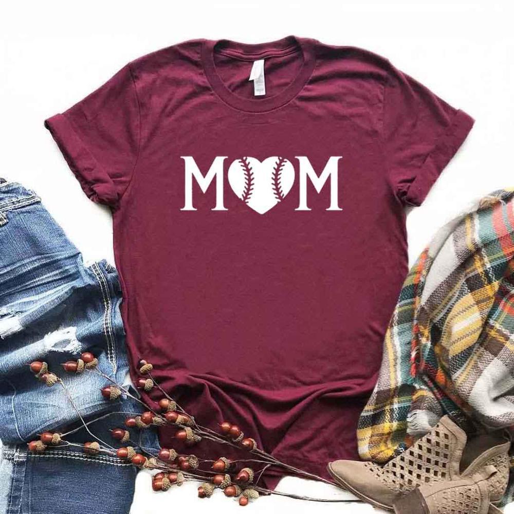 Baseball Mom Print Women Tshirts Cotton Casual Funny t Shirt For Lady  Yong Girl Top Tee 6 Color Drop Ship NA-949