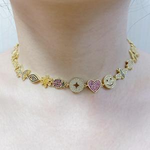 5 шт./лот Новое поступление теннисная цепочка чокер с эмалью турецкий глаз золотое наполненное модное женское ожерелье