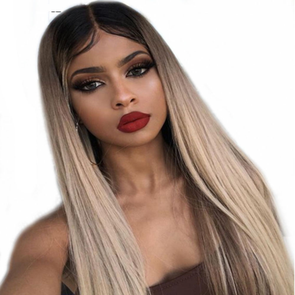 13x6 #1b/18 Straight Lace Front Pre Plucked Brazilian Human Hair Wigs Deep Part Ombre Ash Blonde Human Hair Wigs With Baby Hair