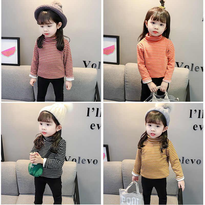 2019 Новая Осенняя модная футболка для девочек Детская Хлопковая Вельветовая теплая универсальная куртка с длинными рукавами и высоким воротником