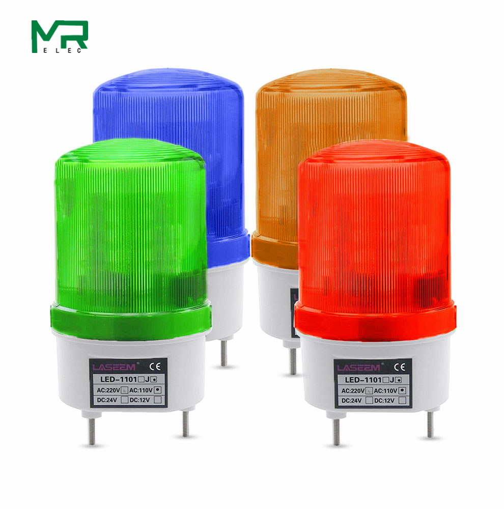 LED-1101 Rotating Rotary LED Strobe Alarm Lamp Light Siren Yellow Blue Red Green LED Warning Light No Voice 12V 24V 110V 220V