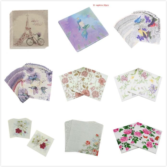 20pcs paper napkins tissue flower bird butterfly black white party decorative LD