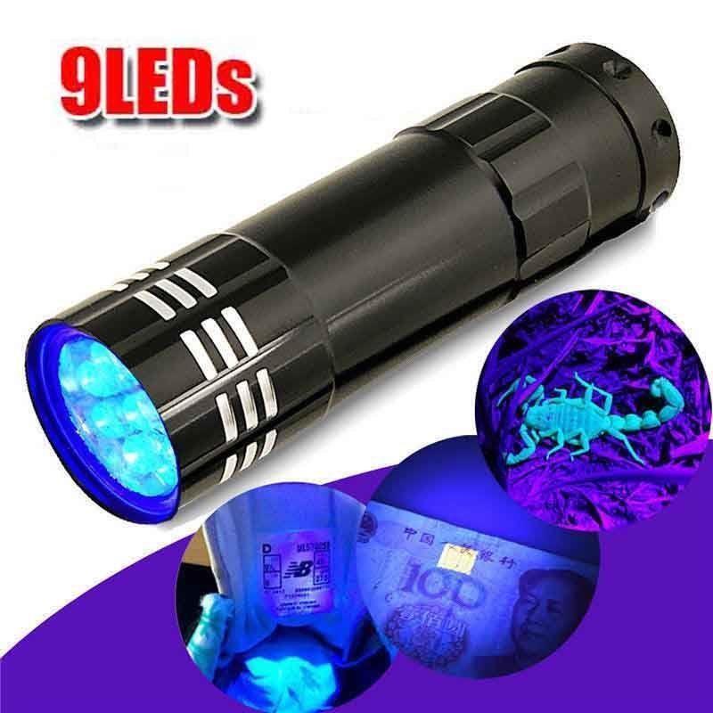 Lampe torche à lumière UV Super Mini 9 lampe de poche LED noire lumière ultraviolette Super Mini lampe torche à lumière UV en aluminium |