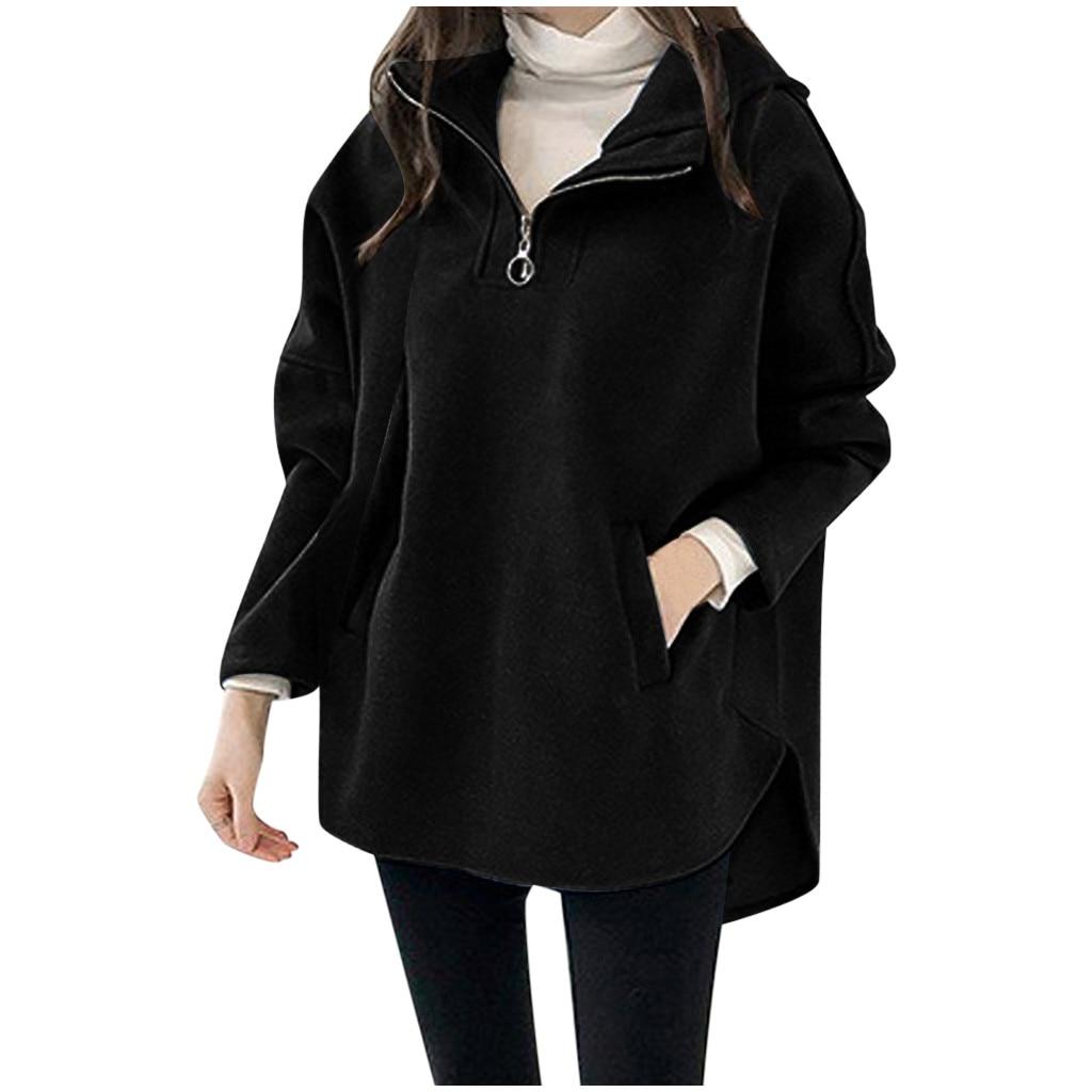 ropa mujer  bluza damska Casual hoodies women Turn-down Collar Long Batwing sleeve Long Solid Coats oversized hoodie sudaderas
